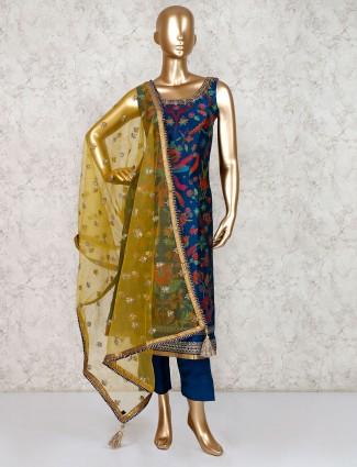 Blue designer sharara suit in cotton silk