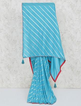 Blue festive silk leheriya saree