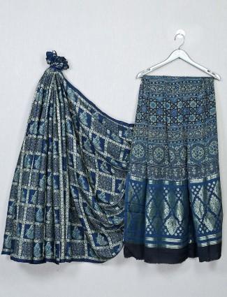 Blue festive wear bandhej saree