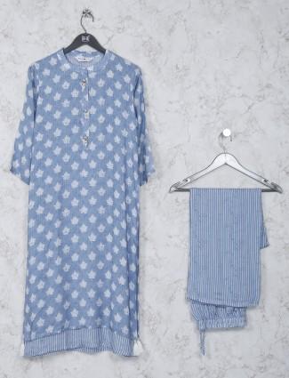 Blue festive wear cotton kurti set