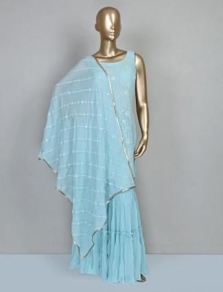 Blue festive wear punjabi sharara suit