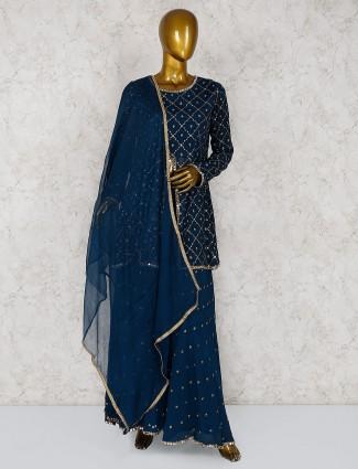 Blue georgette festive palazzo suit