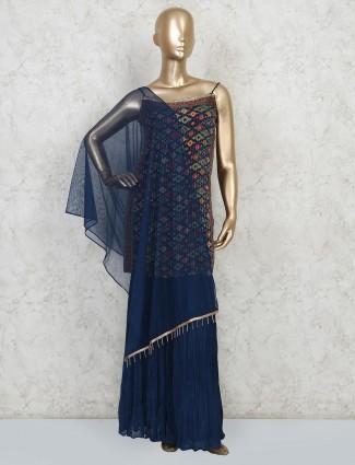 Blue georgette sharara salwar kameez for party