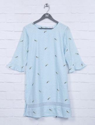 Blue hakoba pattern cotton fabric top