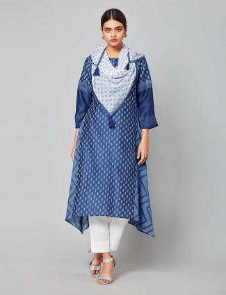 Blue hue chanderi silk lovely punjabi salwar suit
