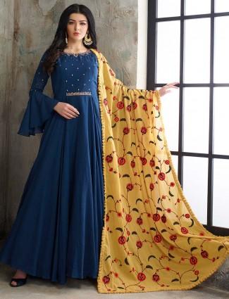 Blue hue cotton silk pakistani floor length anarkali salwar suit