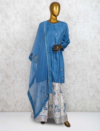 Blue hue cotton silk fabric punjabi sharara suit