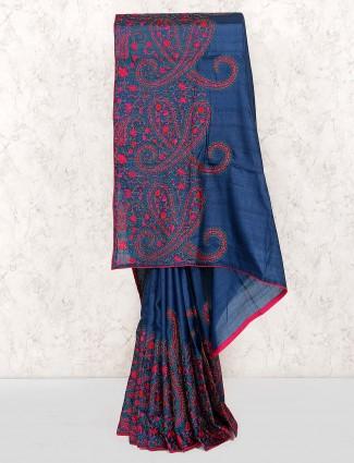 Blue hue cotton silk fabric saree