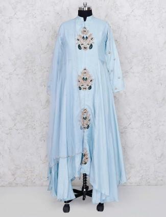 Blue hue cotton silk festive wear designer salwar suit