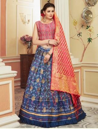 Blue hue cotton silk printed pretty lehenga choli