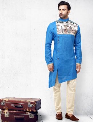 Blue hue cotton silk side cut pattern kurta suit