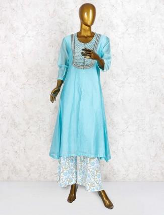 Blue hue festive cotton punjabi palazzo suit
