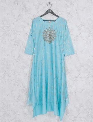 Blue hue festive wear cotton kurti