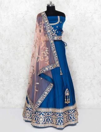 Blue hue festive wear cotton silk semi stitched lehenga choli