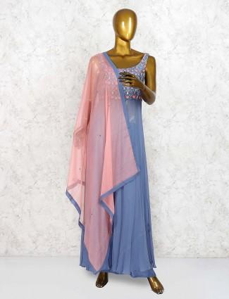 Blue hue festive wear georgette punjabi palazzo