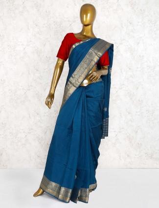 Blue hue festive wear semi silk saree