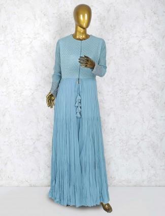 Blue hue georgette party punjabi palazzo suit