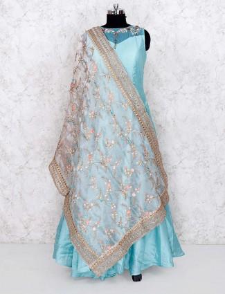Blue hue lovely cotton silk floor length anarkali salwar suit