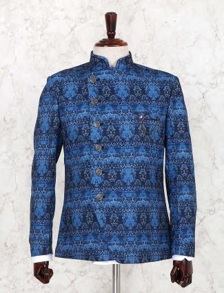 Blue hue party wear printed terry rayon jodhpuri blazer