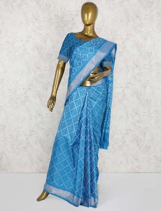 Blue hue patola silk wedding wear saree