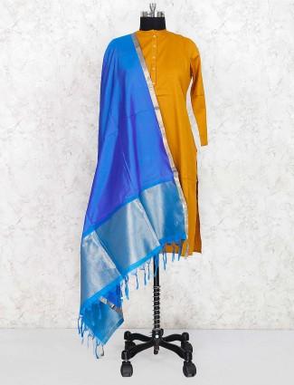 真丝织物蓝色色调漂亮dupatta