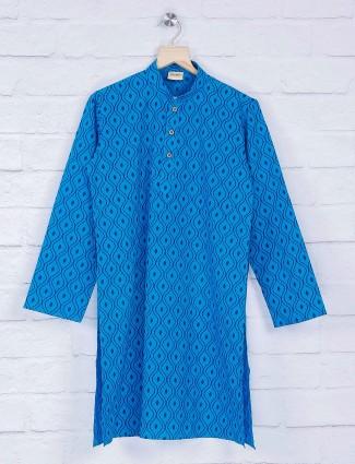 Blue hue printed pattern suit