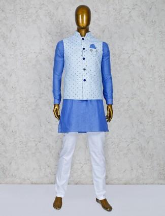 Blue hue terry rayon printed pattern waistcoat set