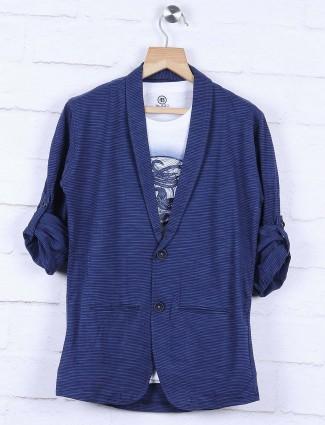 Blue hued casual striped blazer