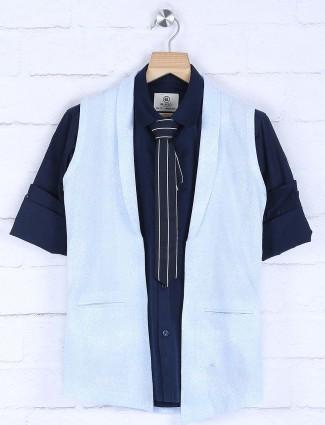 Blue hued cotton fabric waistcoat shirt