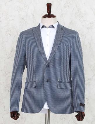Blue hued printed terry rayon blazer