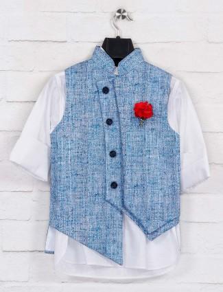 Blue jute stand collar waistcoat set