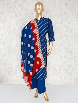 Blue kurti and palazzo set in cotton silk