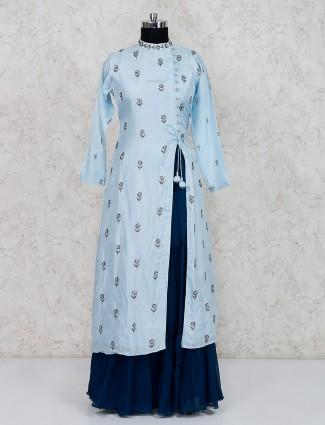 Blue lehenga suit in cotton silk