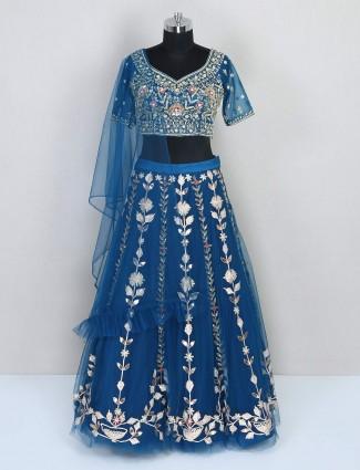 Blue net reception wear lehenga choli for women