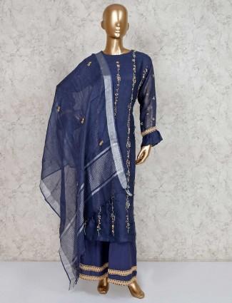 Blue palazzo salwar kameez in cotton