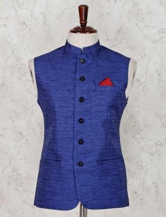 Blue party wear terry rayon waistcoat
