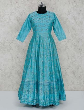 Blue printed cotton silk gown