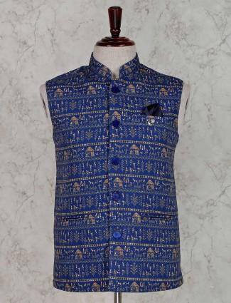 Blue printed design terry rayon waistcoat