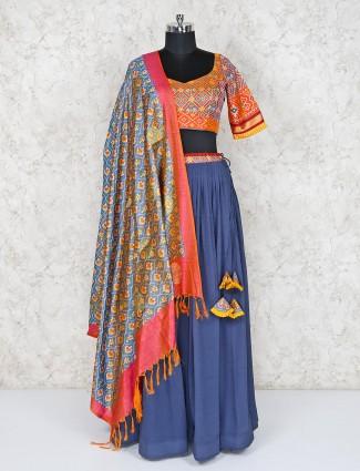 Blue printed lehenga choli in cotton silk