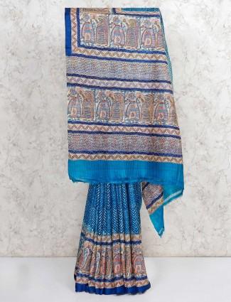 Blue printed tussar silk saree
