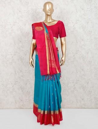 Blue pure silk indian saree