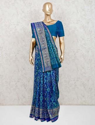 Blue pure silk saree for wedding