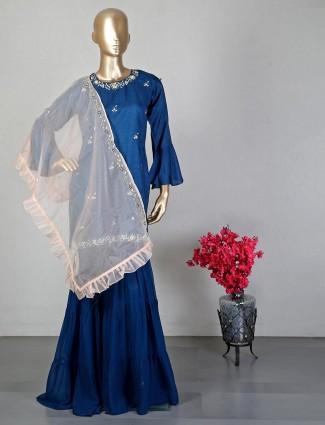 Blue raw silk sharara suit for wedding