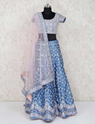 Blue raw silk wedding lehenga choli