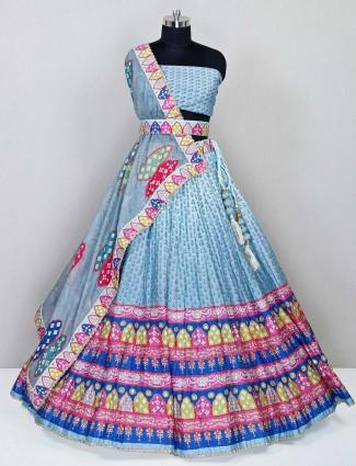 Blue raw silk wedding wear lehenga choli