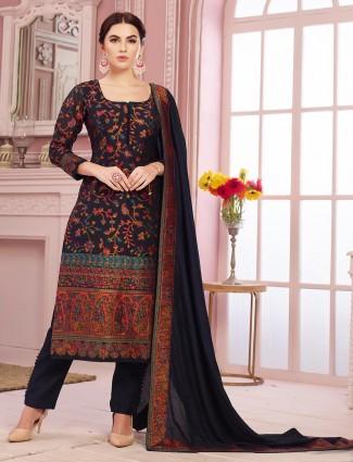 Blue salwar kameez in cotton silk for festive
