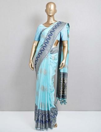 Blue saree in semi silk for festive