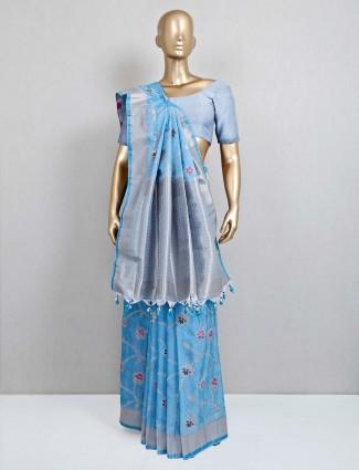 Blue semi banarasi silk saree for festival