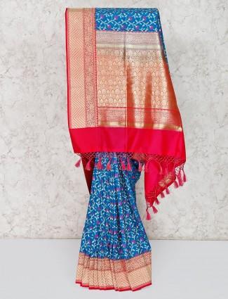 Blue semi silk elegant saree