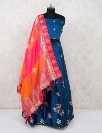 Blue silk festive semi stitched lehenga choli